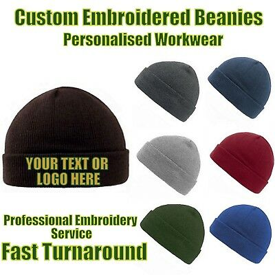 £19.99 • Buy  Custom Embroidered Personalised Hats Pullover Cuffed Beanie 4 Professionals