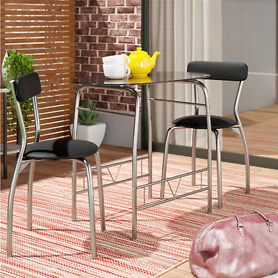 $93.47 • Buy Small Bistro Dining Set 3 Piece With Black Glass Top Table And Chairs NEW