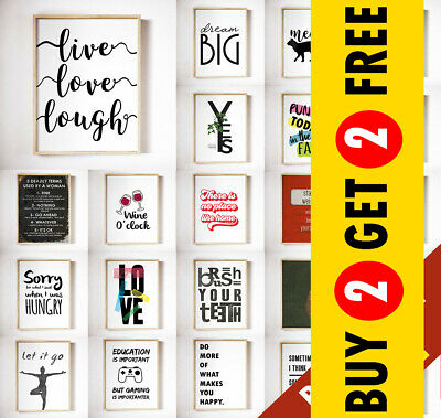 Motivational Inspirational Prints, Funny Quote Posters, A3/A4 Wall Art Decor • 2.99£