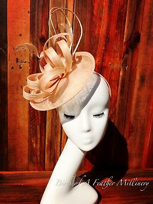 AU28.95 • Buy NUDE BEIGE #44 CLEARANCE Feather Fascinator Melbourne Cup Spring Racing Handmade