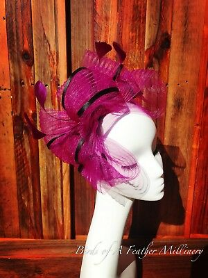 AU29.95 • Buy DARK PINK & BLACK #16 CLEARANCE Feather Fascinator Melbourne Cup Spring Race