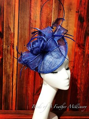 AU35.95 • Buy ROYAL BLUE #25CLEARANCE Feather Flower Fascinator Melbourne Cup Spring Race