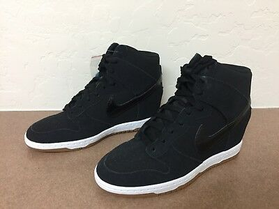 ef11d0140bc8 Womens Nike Dunk Sky Hi Essential Shoes Black Gum Wedge Heel 644877011 Size  9.5 • 97.80