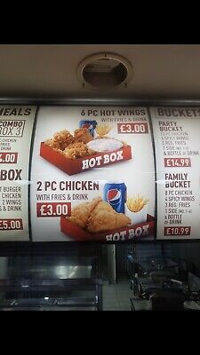 CHICKEN/PIZZA SHOP MENU, Light Box, Backlit Poster, Translites, Custom Design • 70£