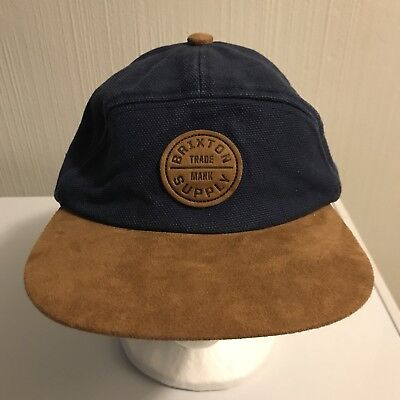 fddac38fd5062 Brixton Supply Hat Snap Back Used Navy Blue Brown Adjustable • 9.99