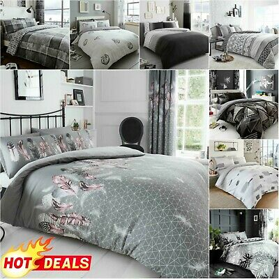 GREY BEDDING SET Quilt Duvet Cover With Pillowcase Double & King Size Easy Care • 14.46£