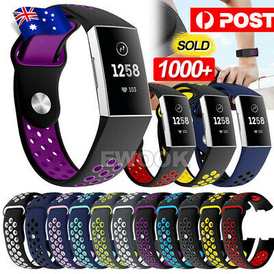 AU6.95 • Buy For Fitbit Charge 3 Bands Soft Silicone Adjustable Replacement Sport Strap Band