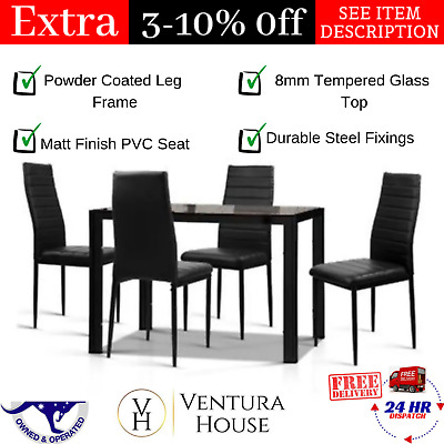 AU249.86 • Buy 5-Piece Dining Table And 4 Chair NEW Kitchen Furniture Set Glass Leather Black
