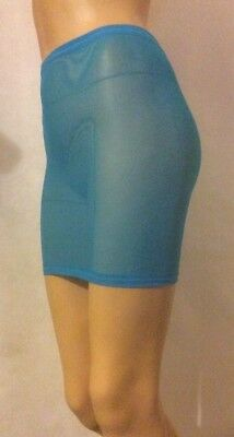 Blue Net Fish Mini Skirt See Through Sheer Stretch Bodycon Womens Party Sexy A60 • 7.99£