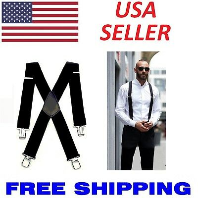 $6.33 • Buy Mens Braces Suspenders Black 50mm X Back Heavy Duty Biker Snowboard Trousers