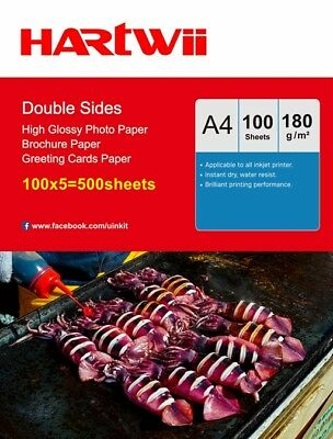£50.99 • Buy A4 180Gsm Double Sided Inkjet Paper Glossy Photograph Paper - 500 Sheets Hartwii