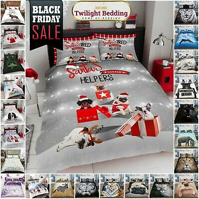 ANIMAL DUVET COVER SET Reversible Quilt Covers Single Double King Size Bedding • 11.95£