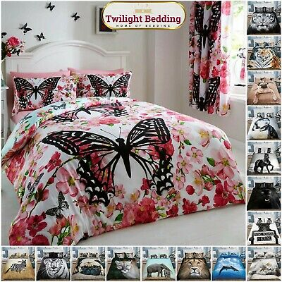 DOUBLE SIZE BED SET 3D Duvet Cover Pillow Case Animal Print Reversible Bedding • 10.80£