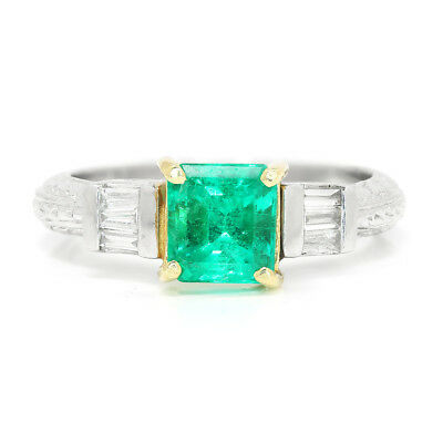 Colombian Emerald Engagement Ring With Diamonds Platinum 14K 1.40ctw • 3,276.41£