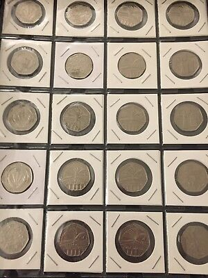 £17.99 • Buy Set Of 20 X 50p Coins, Unique Designs, Incl. Covers And Plastic Holder!