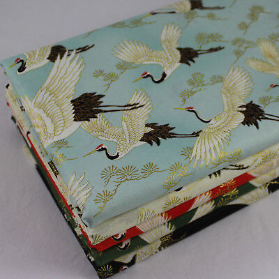 £6.49 • Buy Cranes Japanese Quilt Gate 100% Cotton Fabric With Metallic Details