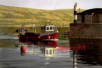 Carnlough Harbour Fishing Boat Northern Ireland Print By Artist Keith Glasgow • 25£