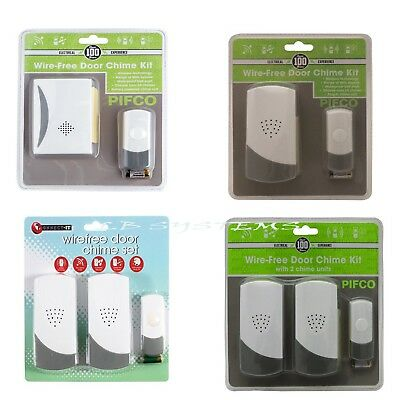 PIFCO Cordless Wireless Door Bell Kit Chime  Home Battery OR PLUG IN  Operated • 9.99£