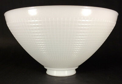 $44.20 • Buy White Milk Glass 2 7/8  X 10 Floor Table Oil Lamp IES Reflector Waffle Shade 392