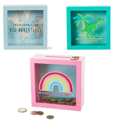 Sass & Belle Vintage Map Big Adventures Money Box Piggy Bank, Rainbow, Dinosaur • 10.48£