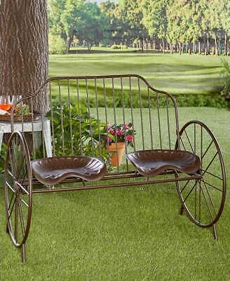 $162.95 • Buy Rustic Metal Farmhouse Porch Farmers Tractor Seat Bench Outdoor Yard Patio Decor