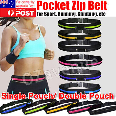 AU6.95 • Buy Waist Running Zip Belt Lycra Bum Bag Pocket Hiking Cycling Jogging Cycling Pouch