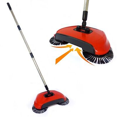 Automatic Spin Sweeper 3 In 1 Floor Sweeping Brush Broom, Duster & Dustpan Pukkr • 8.99£
