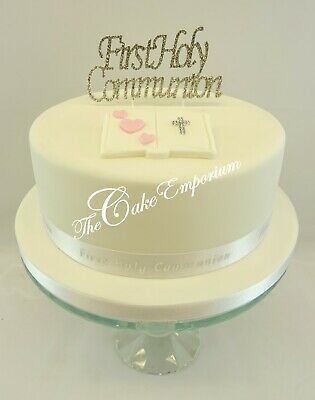 First Holy Communion Rhinestone Plaque Bible Cake Toppers Silver Ribbon Sets  • 4.99£