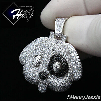 $44.99 • Buy Men 925 Sterling Silver Icy Diamond Bling Black/silver $ Puppy Pendant*sp229