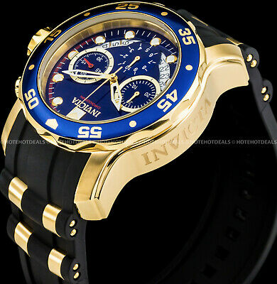 $86.99 • Buy Invicta 48mm Mens Pro Diver Scuba Chronograph Blue Dial Gold Plated SS PU Watch