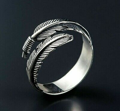 Unisex Silver Feather Open Ring Ancient Vintage Style Adjustable Size-UK Seller • 3.55£