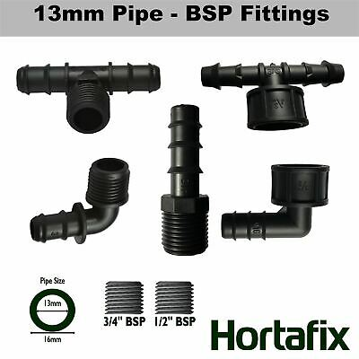 Irrigation 13mm (ID) Barbed To BSP Threaded Fittings Tee Elbow Connector • 1.95£