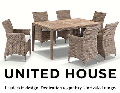AU2290 • Buy Outdoor Wicker 6 Seater Teak Timber Dining Table And Chairs Furniture Setting