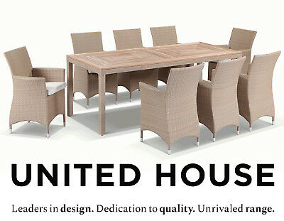 AU2990 • Buy Outdoor Wicker Teak Timber Dining Table And Chairs Furniture Cane Patio Setting