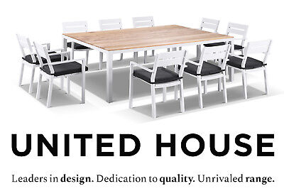 AU3790 • Buy White Aluminium Teak Top 10 Seater Dining Table Chairs Outdoor Furniture Setting