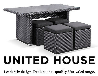 AU699 • Buy Outdoor Wicker Dining Table Ottomans Garden Deck Cane Rattan Furniture Setting