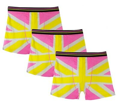 Mens Pink Union Jack 3 Pack Boxer Shorts Summer Colours Pride Deal Offer • 2.99£