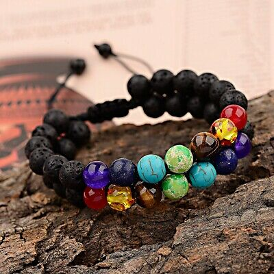 AU4.62 • Buy 7 Chakra Yoga Natural Lava Stone Beaded Double Layer Healing Braided Bracelets
