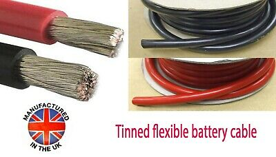 OCEANFLEX TINNED Battery Cable 25mm²/170amp (3AWG) MADE IN THE UK  BAT170xxxTIN • 5£