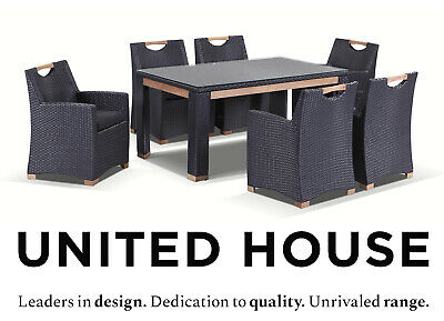 AU1999 • Buy Outdoor Wicker 6 Seater Teak Timber Dining Table & Chairs Cane Furniture Setting