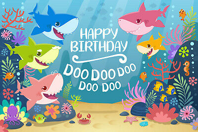$14.59 • Buy Cartoon Cute Baby Shark Kids Birthday Backdrop UnderSea World Shark Party Theme