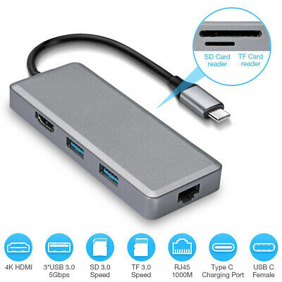 AU85.49 • Buy USB C Hub Type C Ethernet Adapter 3.1 HDMI PD Charging & Data For Mac Pro Air 13