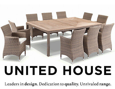 AU3890 • Buy New Outdoor Wicker 10 Seater Teak Timber Dining Table & Chairs Furniture Setting