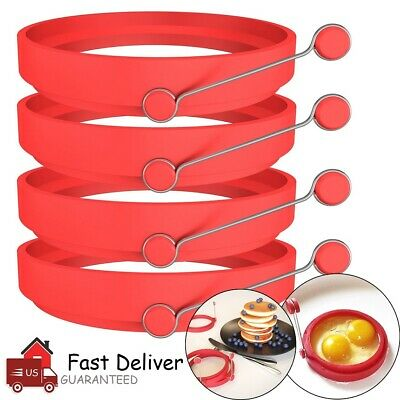 $7.99 • Buy 4 Pack Silicone Egg Fried Ring Round Mold Pancake Breakfast Cooking Tool Kitchen