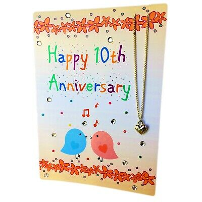 10th Anniversary Greetings Card With Tin Heart Charm Necklace Attached. Tin Gift • 10£