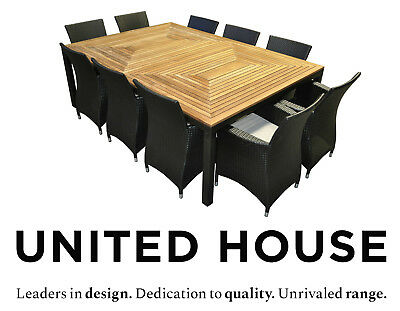 AU3290 • Buy Large Outdoor Wicker 10 Seater Timber Dining Table And Chairs Furniture Setting