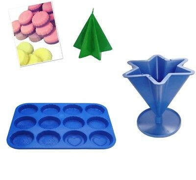 Set X 2 Star Candle Mould With Base & Wax Melt Tart Tray, Swirl, Heart Etc S7758 • 7.20£