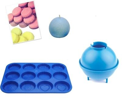 Set X 2, Sphere Round Candle Mould & Wax Melt Tart Tray, Swirl, Heart Etc. S7763 • 7£