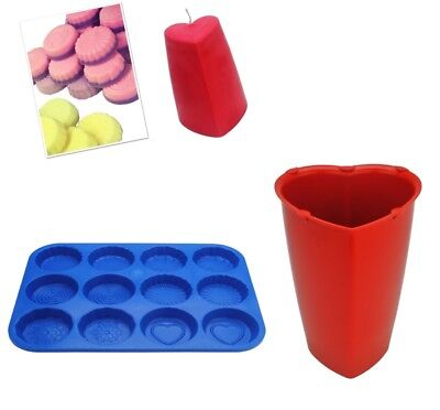 Set Of 2, Valentine Heart Candle Mould & Wax Melt Tart Tray, Swirl, Heart. S7750 • 7£