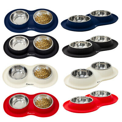 £12.99 • Buy Stainless Steel Double Pet Bowl Dog Cat Twin Food Water Dish Feeding Station
